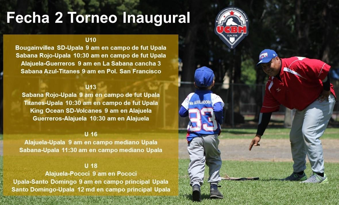 PROGRAMACIÓN SEGUNDA FECHA DEL TORNEO INAUGURAL