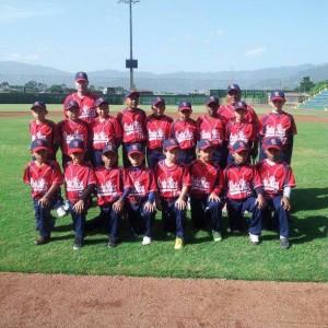 Selección Nacional de Béisbol de Costa Rica. Categoría Sub 12. Foto Archivo.