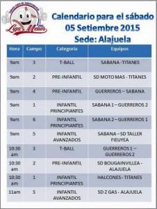 Calendario de Juegos Copa Independencia de Liga Menor 5 setiembre